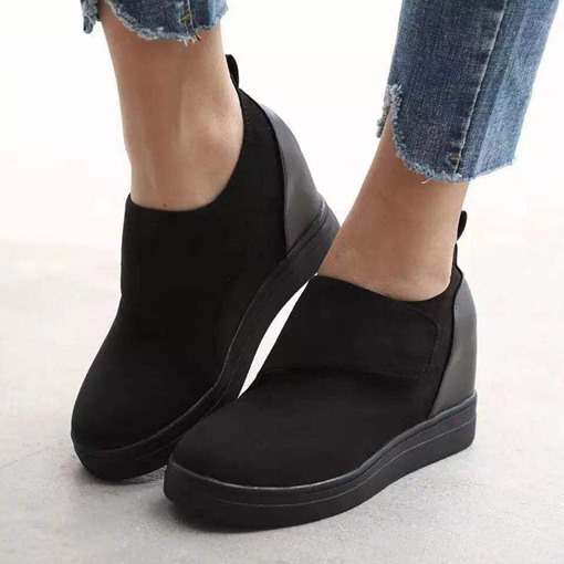 Platform Velcro Round Toe Hidden Elevator Heel Plain Thin Shoes
