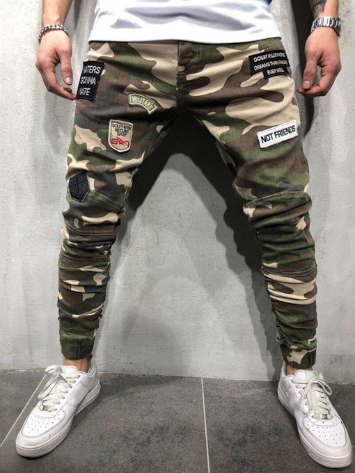 Pencil Pants Camouflage Print Mid Waist Men's Casual Pants