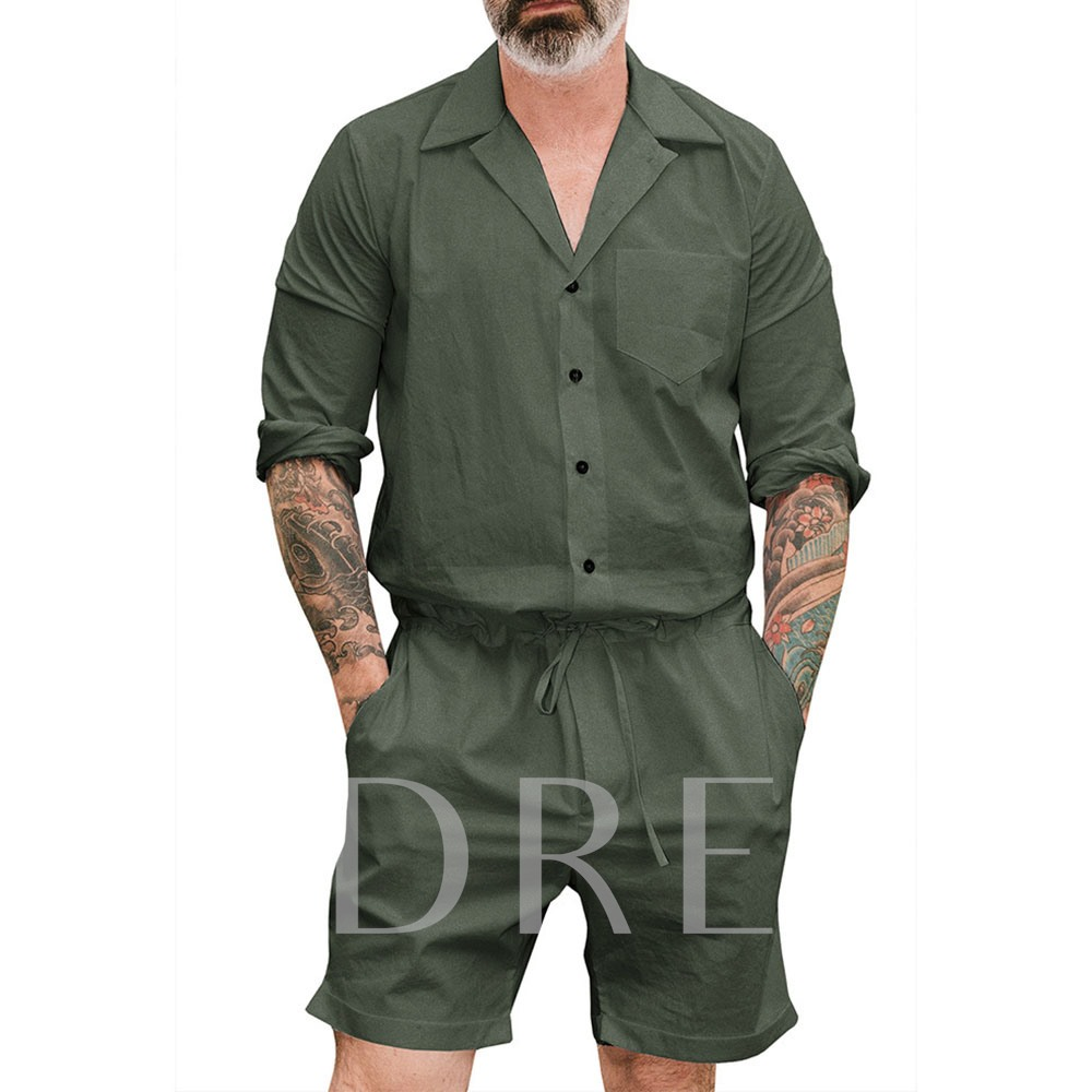 Knee Length Straight Pocket Plain Casual Men's Jumpsuits/Overalls