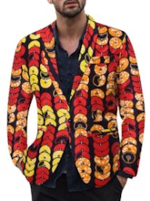 One Button Notched Lapel Casual Print Men's leisure Suit