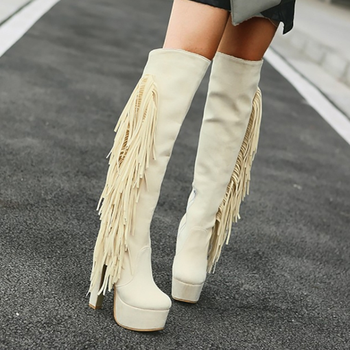 Plain Side Zipper Round Toe Chunky Heel Zipper Boots