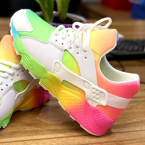 Lace-Up Low-Cut Upper Thread Round Toe PU Sneakers