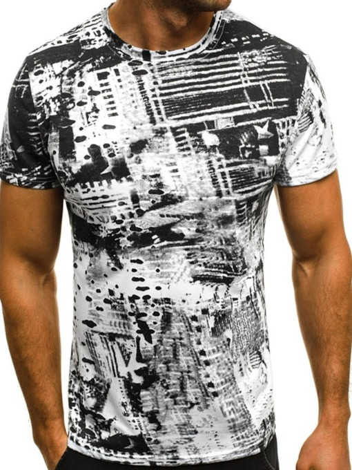 Round Neck Casual Print Slim Men's T-shirt
