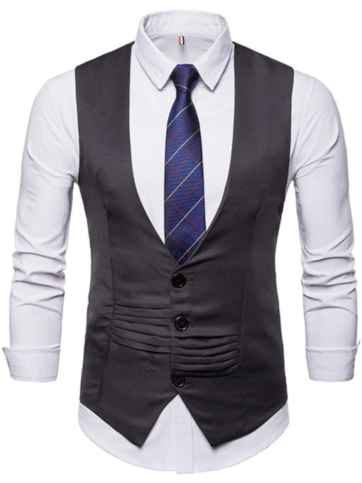 Plain Pleated V-Neck Formal Men's Waistcoat