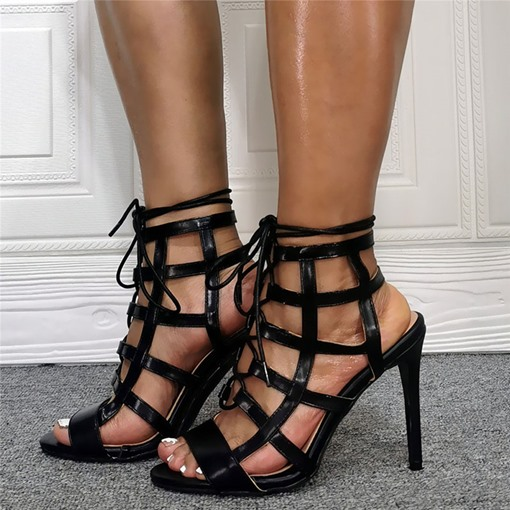 Stiletto Heel Lace-Up Open Toe Plain Sandals