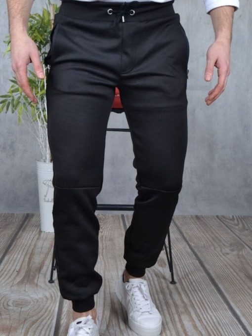 Plain Pencil Pants Lace-Up Men's Casual Pants