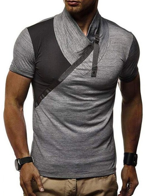 Color Block Casual Patchwork Loose Men's T-shirt