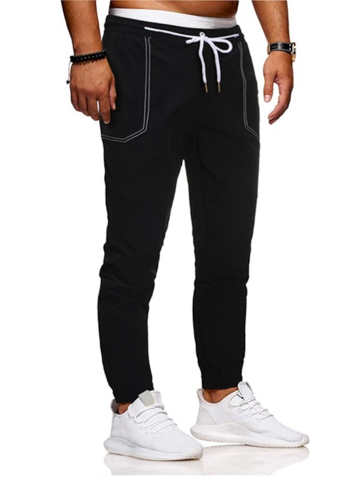 Plain Pencil Pants Mid Waist Men's Casual Pants