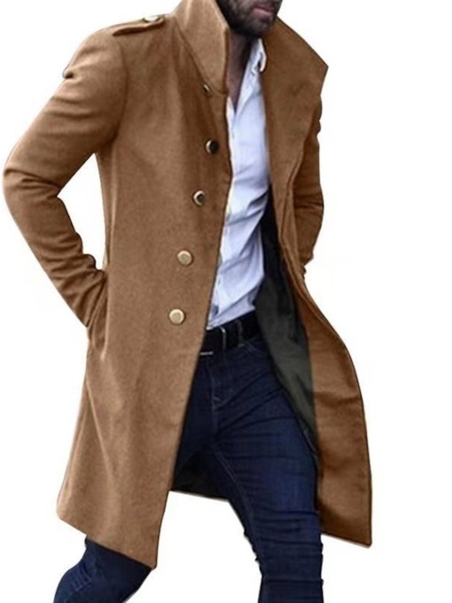 Stand Collar Mid-Length Plain Single-Breasted Men's Coat
