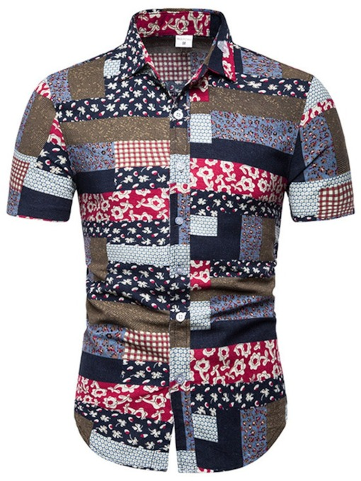 European Lapel Print Slim-Fit Summer Men's Shirt