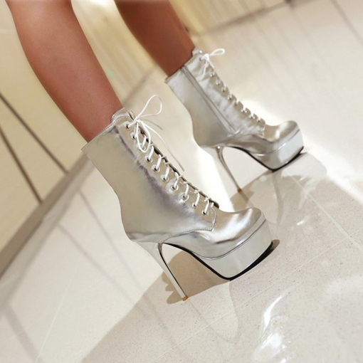 Plain Side Zipper Round Fashion Toe PU Boots