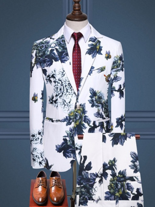 One Button Print Floral Blazer Men's Dress Suit