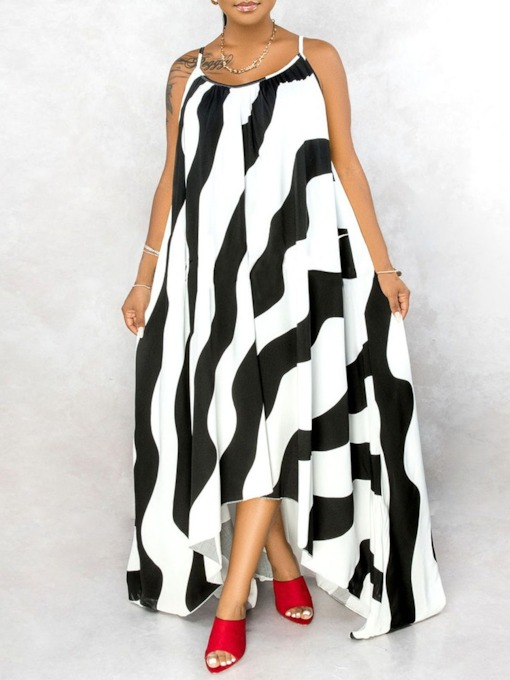 Print Floor-Length Sleeveless Spaghetti Strap Female's Dress