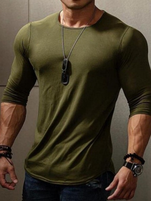 Plain Round Neck Casual Pullover Men's T-shirt