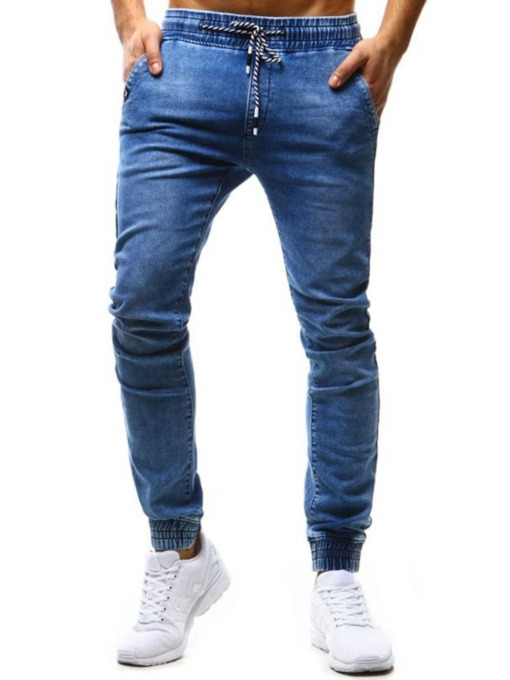 Pencil Pants Plain Pleated Mid Waist Men's Jeans