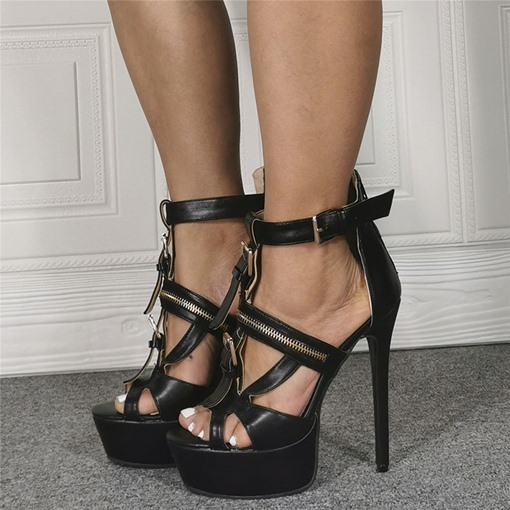 Stiletto Heel Open Toe Zipper Platform Sandals