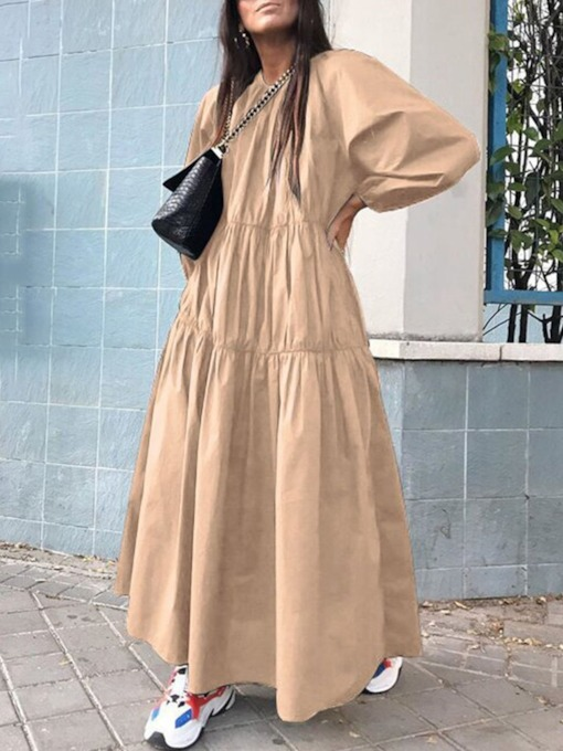 Pleated Ankle-Length Long Sleeve Round Neck Spring Women's Dress
