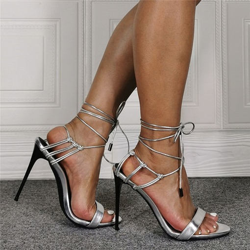 Pointed Toe Stiletto Heel Lace-Up OL Sandals