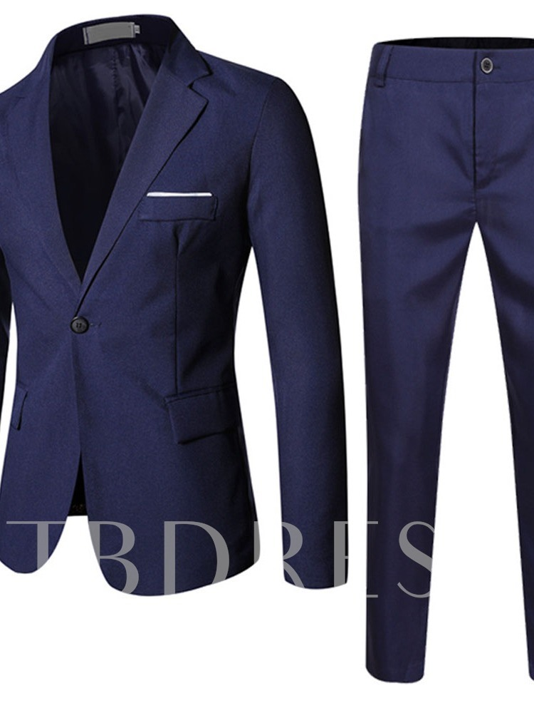 Pants One Button Plain Pocket Men's Dress Suit