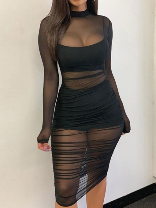 Stand Collar Long Sleeve See-Through Mid-Calf Pullover Women's Dress
