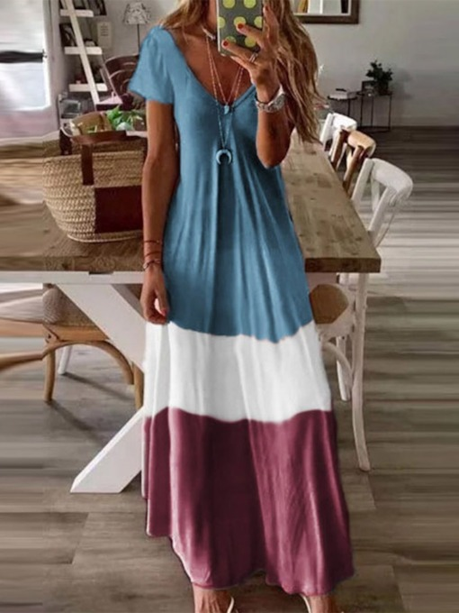 Floor-Length Short Sleeve Patchwork V-Neck Travel Look Women's Dress