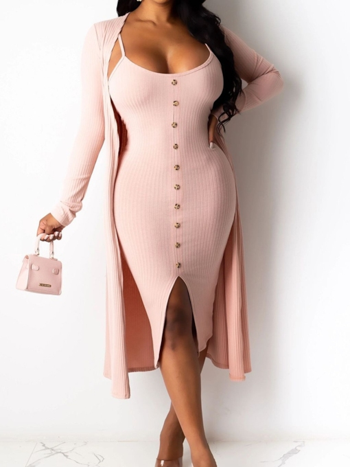 Mid-Calf Long Sleeve Split Spaghetti Strap Women's Dress