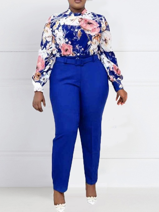 Office Lady Pants Print Floral Lapel Women's Two Piece Sets
