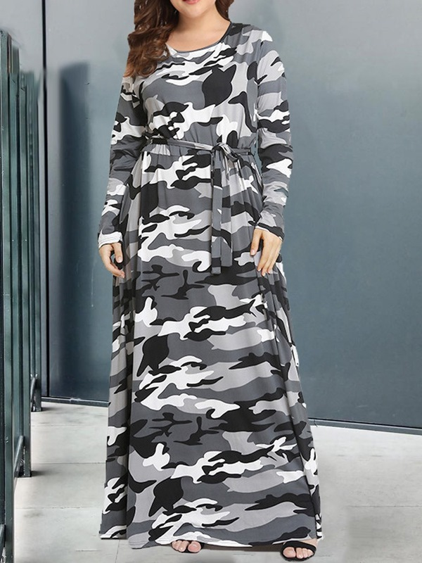 Camouflage | Sleeve | Round | Women | Dress | Print | Neck | Long