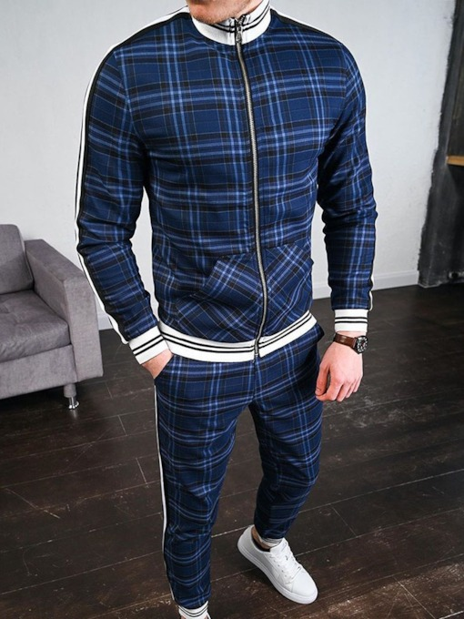 Plaid Casual Pants Patchwork Fall Men's Outfit