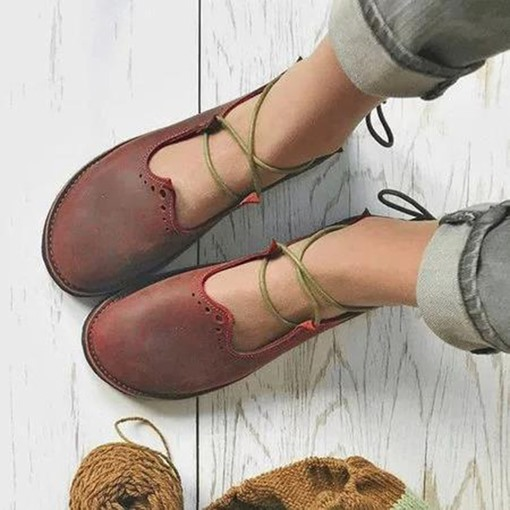 Round Toe Lace-Up Flat With Cross Strap Casual Thin Shoes