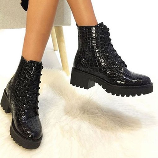 Color Block Block Heel Lace-Up Front Round Toe Cross Strap Boots