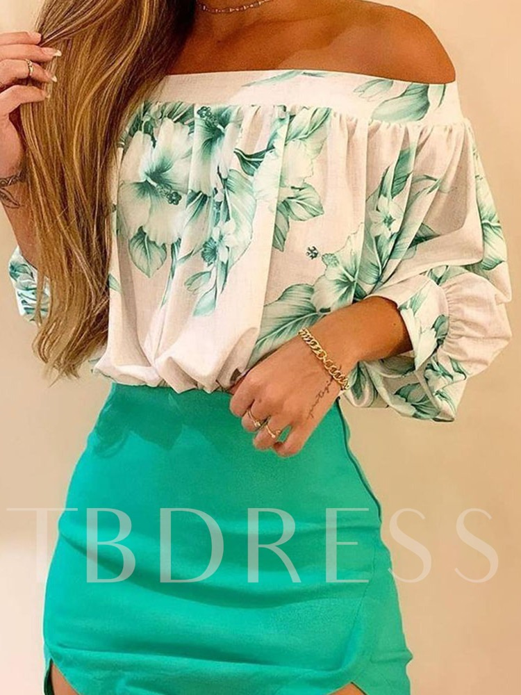 Fashion Print Shirt Floral Pullover Women's Two Piece Sets