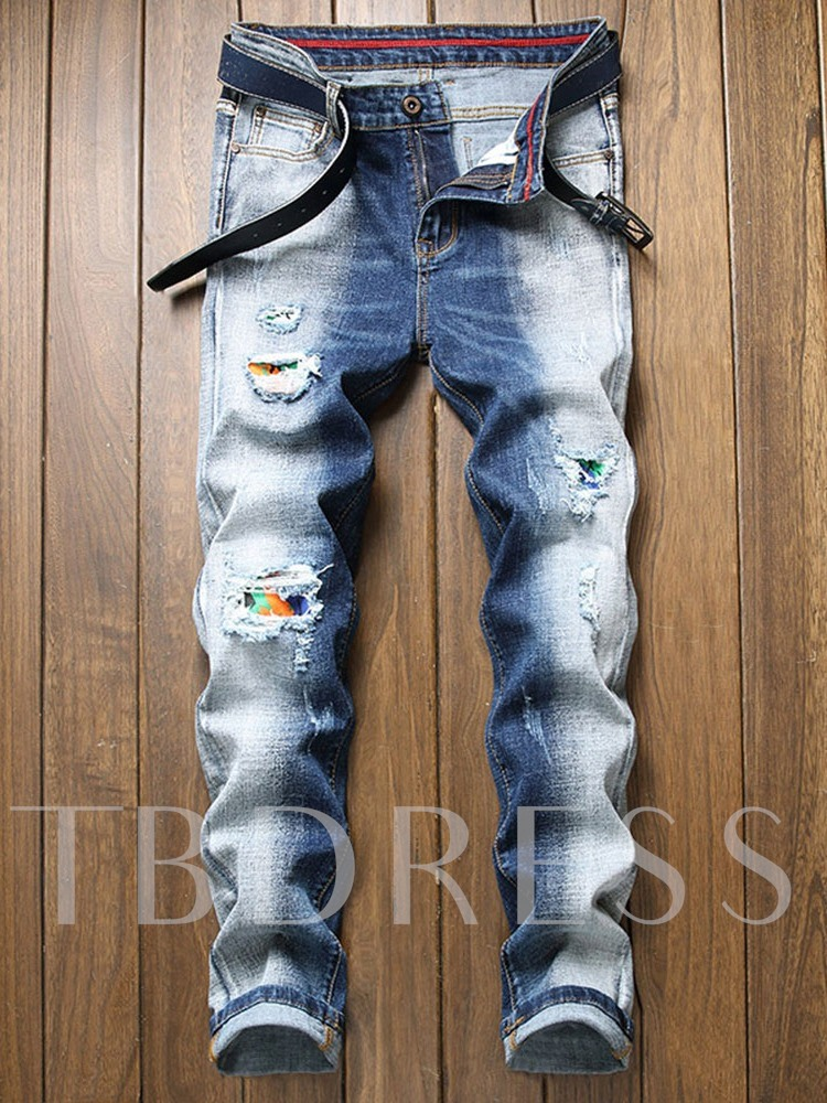 Print Straight Casual Men's Jeans
