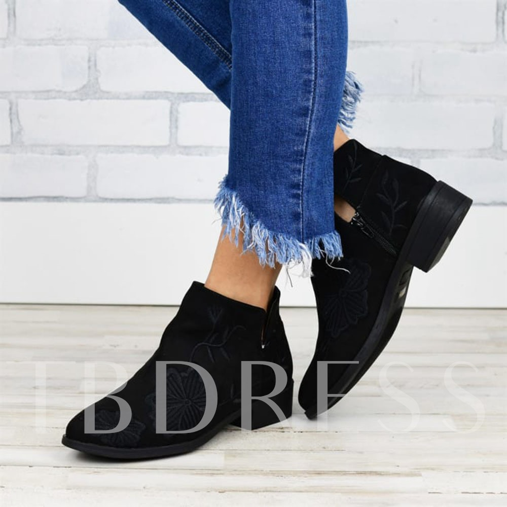 Floral Block Heel Side Zipper Round Toe Embroidery Boots