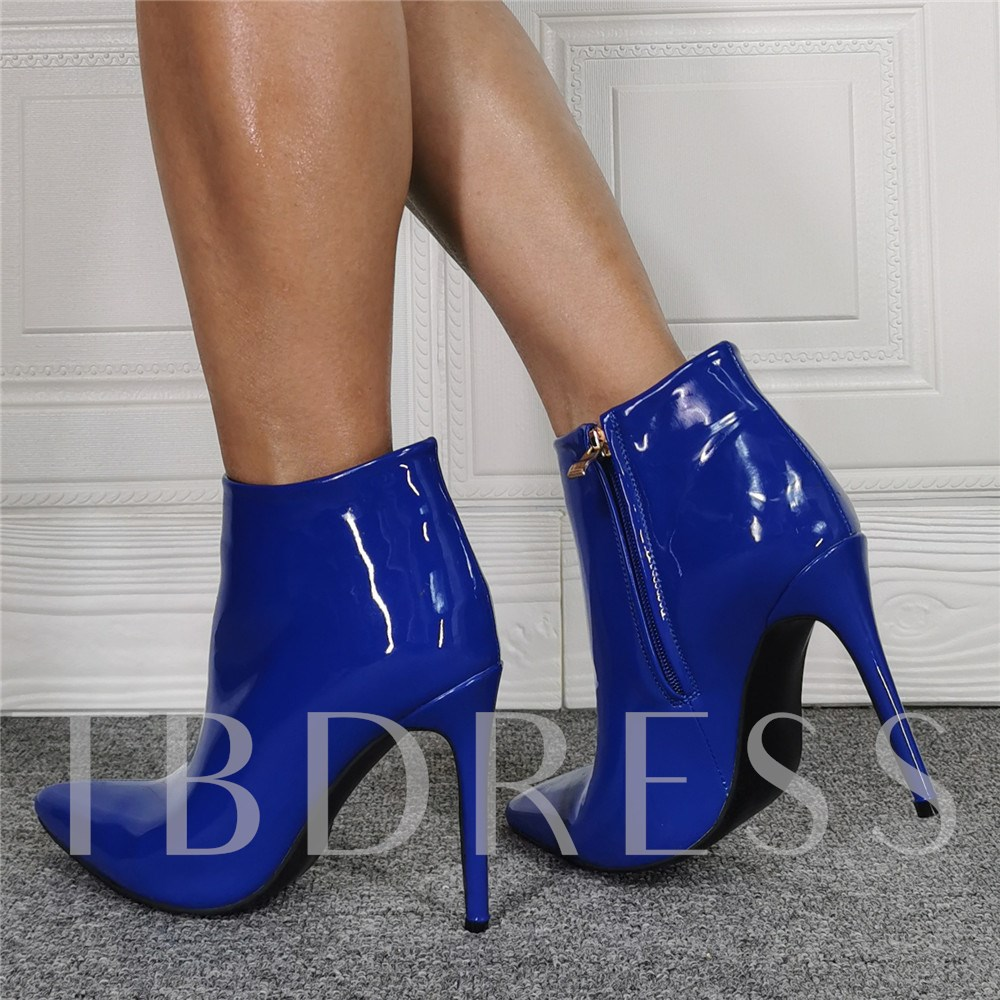 Side Zipper Plain Pointed Toe Boots