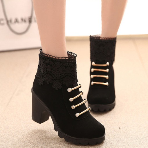 Round Toe Floral Side Zipper Casual Boots