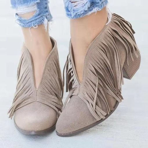 Slip-On Pointed Toe Plain Western Boots