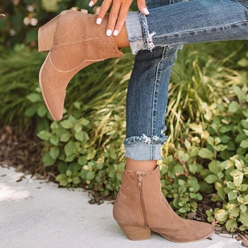 Chunky Heel Side Zipper Plain Pointed Toe Zipper Boots