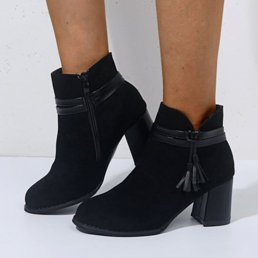Side Zipper Round Toe Chunky Heel Thread Boots