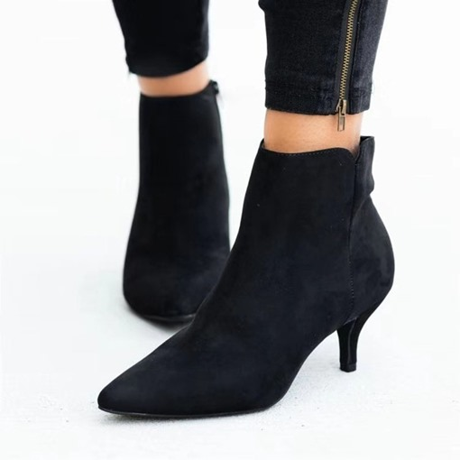 Stiletto Heel Pointed Toe Side Zipper Western Boots