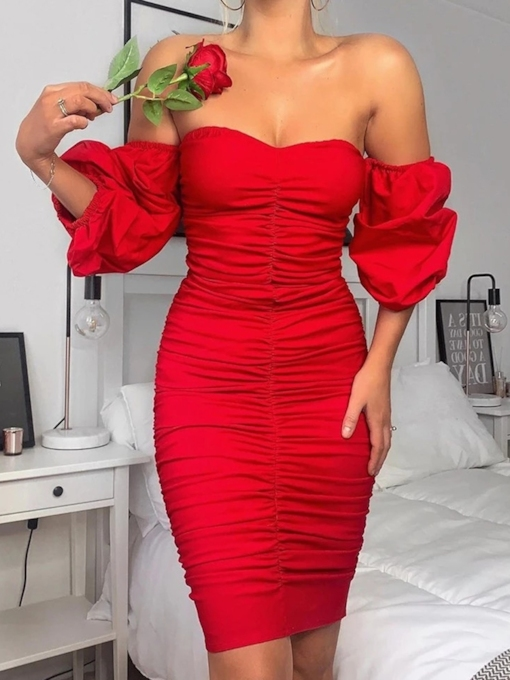 Above Knee Three-Quarter Sleeve Off Shoulder Pleated Pullover Women's Dress