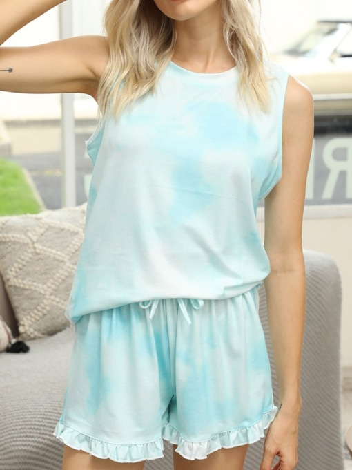 Casual Lace-Up Gradient Sleeveless Women's Pajama Suit