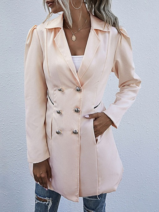 Double-Breasted Button Mid-Length Lapel Hemline/Peplum Women's Trench Coat