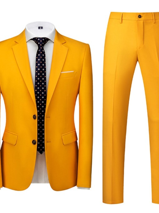 Single-Breasted Blazer Plain Formal Men's Dress Suit