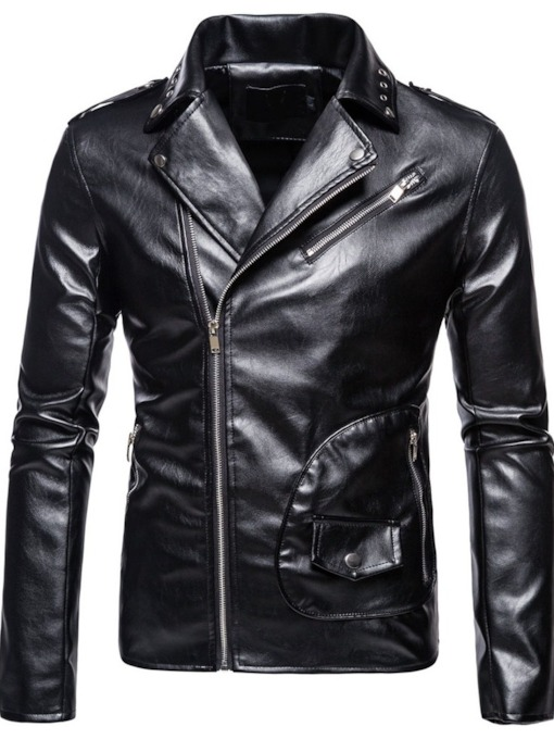 Standard Plain Lapel Pocket Men's Leather Jacket