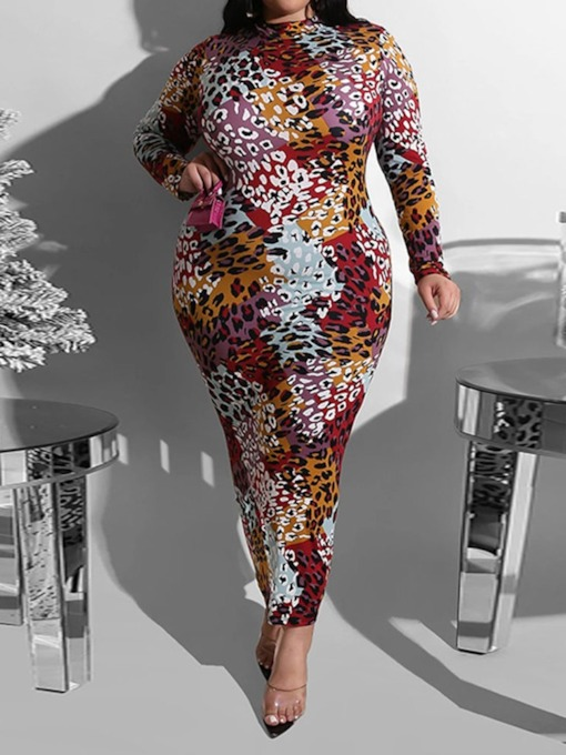 Stand Collar Long Sleeve Print Ankle-Length Pullover Women's Dress