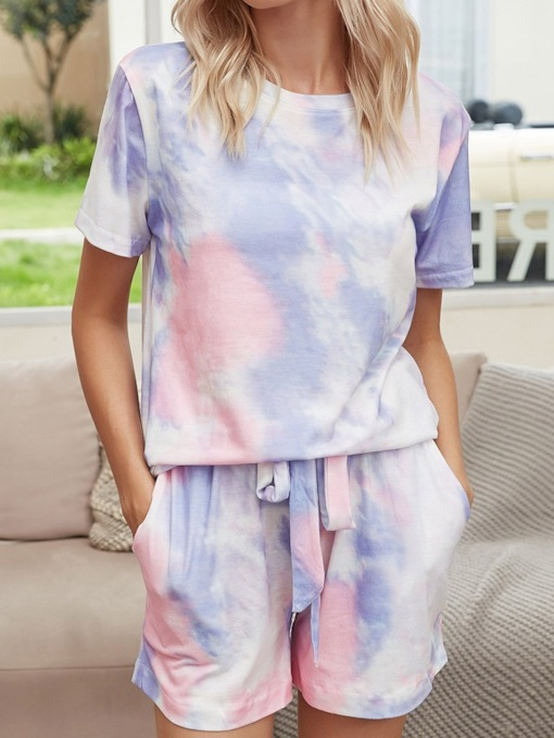 Gradient Lace-Up Casual Short Sleeve Women's Pajama Suit