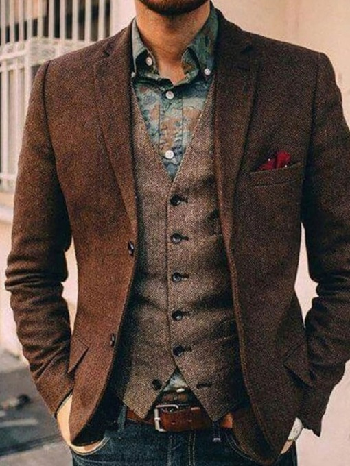 OL Slim Single-Breasted Notched Lapel Men's leisure Suit