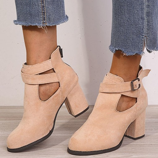 Back Zip Round Toe Chunky Heel Plain Platform Boots