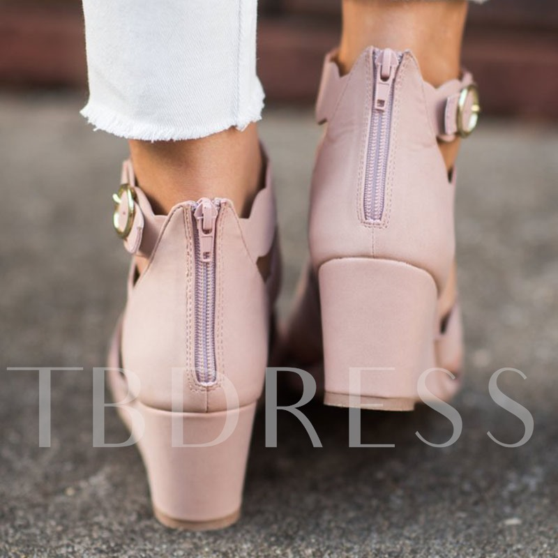 Wedge Heel Heel Covering Zipper Open Toe Zipper Sandals